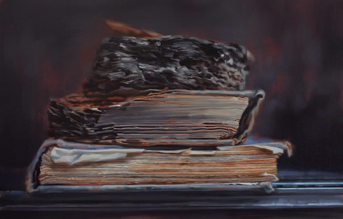 Through Fire (Books that Survived the Anti-Japanese War of Resistance at Tsinghua University No.2), 2017. Oil on canvas. H. 48 x W. 74 in. (122 x 188 cm). Courtesy of the artist and Chambers Fine Art. Photograph courtesy of the artist