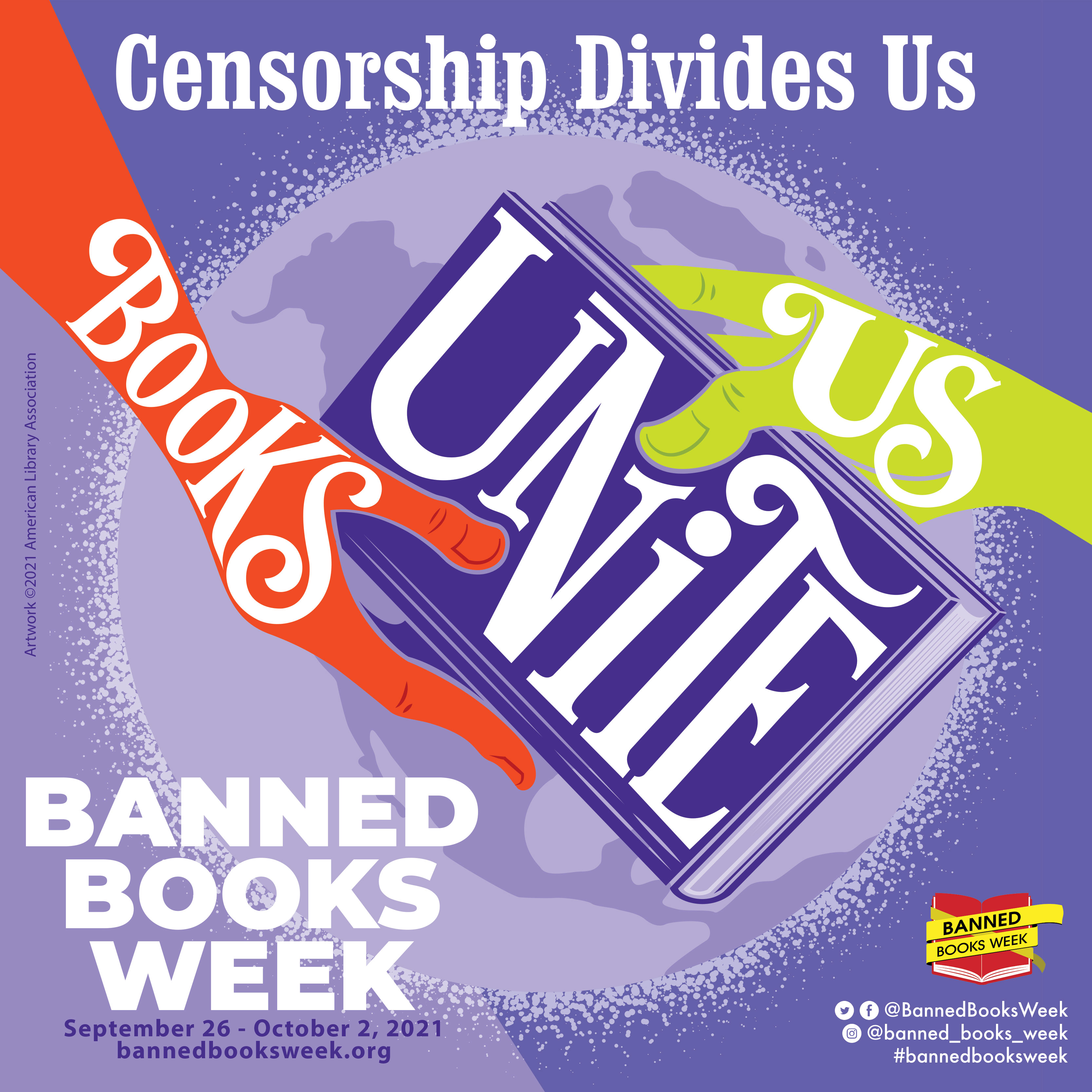 Graphic text advertising banned books week